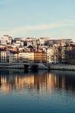 Lyon riverbank. Taken during a winter sunset Royalty Free Stock Images