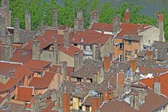 Lyon roofs royalty free stock photography