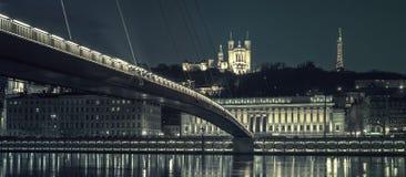 Lyon 's nachts, speciale fotografische verwerking Royalty-vrije Stock Afbeeldingen