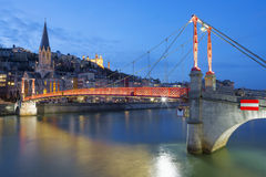 Lyon with Saone river and footbridge at night Stock Photo