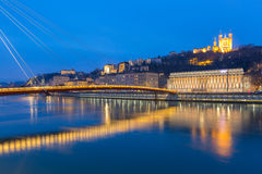 Lyon Saone River Fourviere Notre-Dame Arkivbild