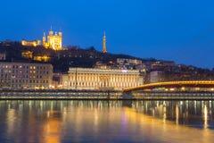 Lyon Saone River Fourviere Notre-Dame Royaltyfri Bild
