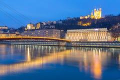 Lyon Saone River Fourviere Notre-Dame Fotografering för Bildbyråer