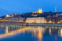 Lyon Saone River Fourviere Notre-Dame Arkivfoton