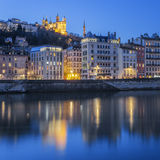Lyon with Saone river by night Stock Image