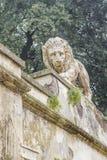 Lyon Sculpture, Villa Borghese, Rome, Italy. Low angle view of lyon sculpture at villa borghese park, Rome, Italy royalty free stock photography