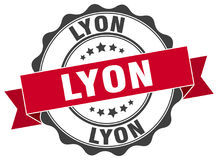 Lyon seal. Lyon round ribbon seal isolated on white background Royalty Free Stock Photo