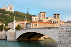 Lyon in september. Classical view of Lyon over the Saone river. GPS information is in the file Stock Photos