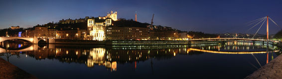 Lyon Skyline. Panorama of Lyon on the Saone, the second river passing in Lyon Royalty Free Stock Photo