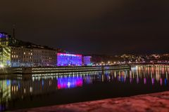Lyon skyline during Festival of lights Royalty Free Stock Photography