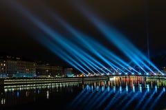 Lyon skyline during Festival of lights Stock Photography