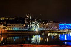 Lyon skyline during Festival of lights Royalty Free Stock Photo