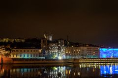 Lyon skyline during Festival of lights Royalty Free Stock Photos
