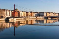 Lyon skyline with footbridge over the Saone river and waterfront Royalty Free Stock Image