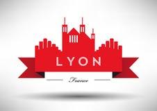 Lyon Skyline with Typographic Design stock illustration