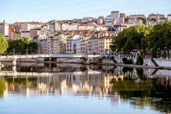 Lyon stad i Frankrike Fotografering för Bildbyråer