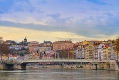 Lyon stad och floden Saone Royaltyfri Fotografi