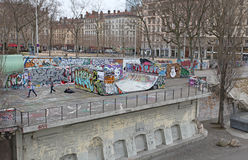 Lyon street basketball playground. France Stock Image