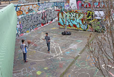 Lyon street basketball playground. France Stock Images