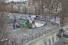 Lyon street basketball playground. France Stock Photography