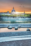 Lyon by sunset in summer Stock Images