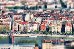 Lyon tilt shift. Aerial view of Lyon with tilt shift photographic prossessing royalty free stock photography
