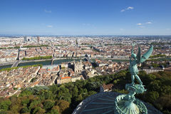 Lyon from the top of Notre Dame de Fourviere Royalty Free Stock Photography