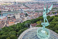 Lyon from the top of Notre Dame de Fourviere Royalty Free Stock Image