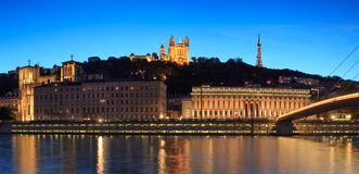 Lyon at twilight Royalty Free Stock Photos