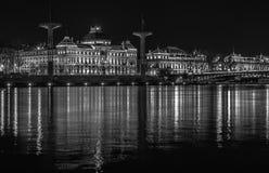 Lyon University bridge and building by night b&w photography Royalty Free Stock Photos
