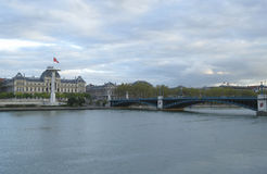Lyon University and University Bridge in Lyon, France Stock Images