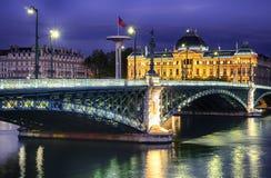 Lyon vid natt Royaltyfri Fotografi
