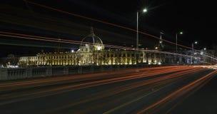 Lyon vid natt Arkivbild