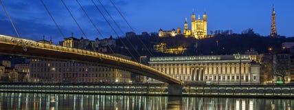 Lyon vid natt royaltyfria foton