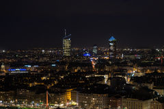 Lyon vid natt Fotografering för Bildbyråer