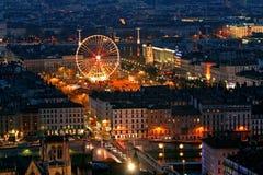 Lyon vieja en la noche fotografía de archivo libre de regalías