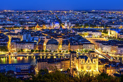 Lyon view. View of Lyon city from Fourviere, France Stock Images