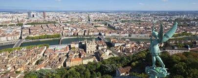 Lyon von der Spitze Notre Dame de Fourviere Lizenzfreie Stockfotografie
