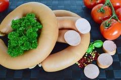 Lyoner, Fleischwurst, Lyoner香肠,德国香肠Lyoner,德国Fleischwurst,德国香肠,食物 免版税库存照片