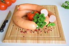 Lyoner, Fleischwurst, Lyoner香肠,德国香肠Lyoner,德国Fleischwurst,德国香肠,食物 图库摄影