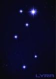Lyra constellation. Vector illustration of Lyra constellation in blue Stock Photo