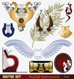Lyre. Vector set: Musical Instrument - lyre Royalty Free Stock Photography