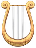 Lyre. A stringed lyre musical instrument on a white background Stock Photos