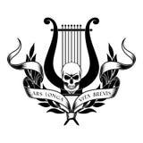 Lyre avec le crâne, la guirlande de laurier et le ruban illustration libre de droits