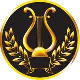 Lyre del oro, enmarcado por una guirnalda del laurel. Imagen de archivo libre de regalías