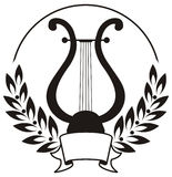 Lyre, framed by a laurel wreath. Black and white Stock Illustration