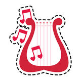 Lyre instrument icon. Lyre instrument with musical notes over white background. colorful design. vector illustration Royalty Free Stock Photos