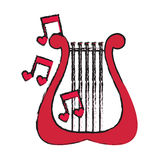 Lyre instrument icon. Lyre with musical notes over white background. vector illustration Stock Image