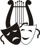Lyre and masks. Symbols of music. arts and theater -  isolated black vector illustration on white background Stock Photos
