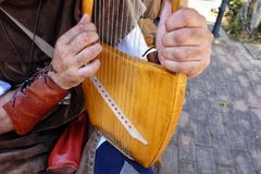 Lyre medieval musical instrument. Day Stock Image